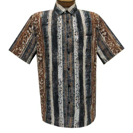 Men's Bassiri Short Sleeve Button Front Microfiber Sport Shirt With A Pocket #63381 Beige