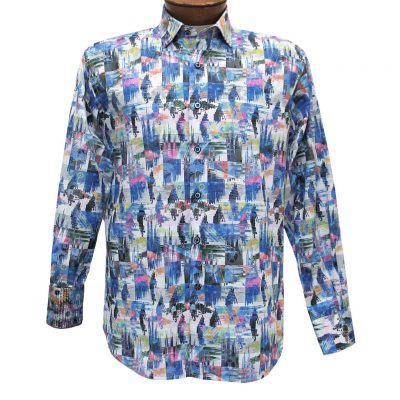 Men's Luchiano Visconti Sport Edition Abstract Long Sleeve Sport Shirt #4268 Multi