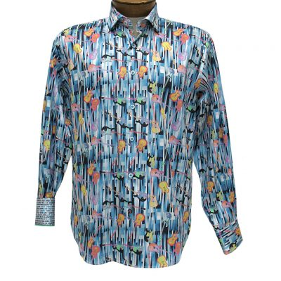 Men's Luchiano Visconti Sport Edition Guitars Long Sleeve Sport Shirt #4274 Blue Multi