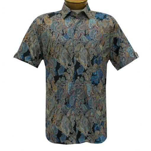 Men's Luchiano Visconti Sport Edition Knit Short Sleeve Woven Fancy Sport Shirt, #42117 Multi