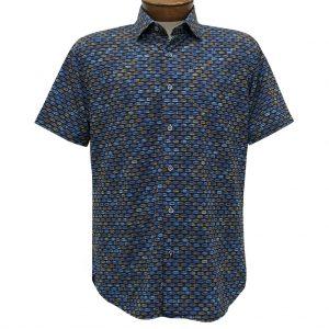Men's Luchiano Visconti Sport Edition Knit Short Sleeve Woven Fancy Sport Shirt, #42119 Blue Multi