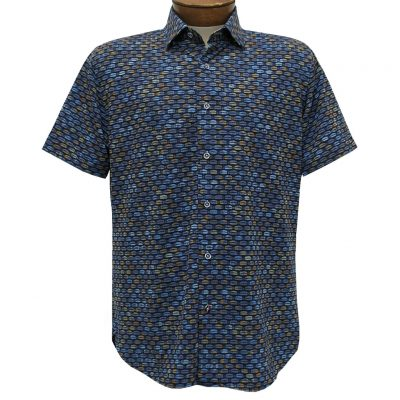 Men's Luchiano Visconti Sport Edition Knit Short Sleeve Woven Fancy Sport Shirt, #42119 Blue Multi