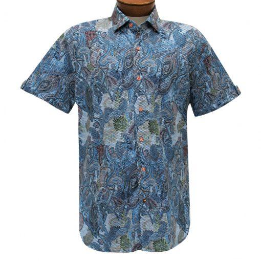 Men's Luchiano Visconti Sport Edition Knit Short Sleeve Woven Fancy Sport Shirt, #42121 Multi
