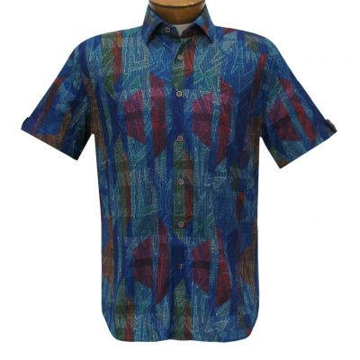 Men's Luchiano Visconti Sport Edition Knit Short Sleeve Woven Fancy Sport Shirt, #42124 Multi