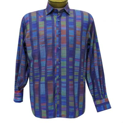 Men's Luchiano Visconti Sport Edition Abstract Long Sleeve Woven Sport Shirt #4289 Blue Multi