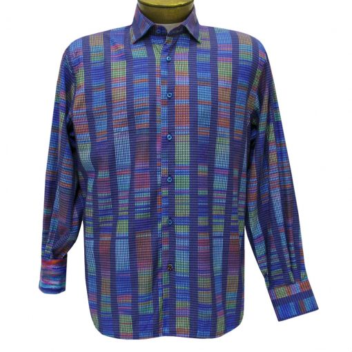 Men's Luchiano Visconti Sport Edition Abstract Long Sleeve Woven Sport Shirt #4289 Blue Multi