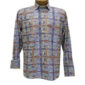 Men's Luchiano Visconti Sport Edition Modern Maize Long Sleeve Sport Shirt #4286 Multi