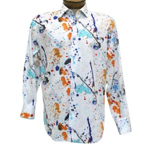 Men's Luchiano Visconti Sport Edition Paint Splatter Long Sleeve Sport Shirt #4267 Multi