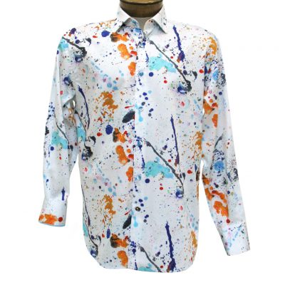 Men's Luchiano Visconti Sport Edition Paint Splatter Long Sleeve Sport Shirt #4267 Multi
