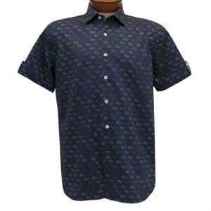 Men's Luchiano Visconti Sport Edition Short Sleeve 100% Cotton Sport Shirt, Sunglasses #42147 Navy