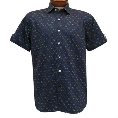 Men's Luchiano Visconti Sport Edition Short Sleeve 100% Cotton Sport Shirt, Sunglasses #42147 Navy