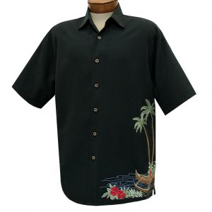 Men's Bamboo Cay Short Sleeve Embroidered Camp Shirt, Dancing Hula #WB1913 Black (L & XXL, ONLY!)