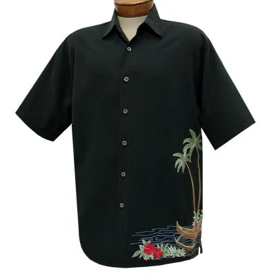 Men's Bamboo Cay Short Sleeve Embroidered Camp Shirt, Dancing Hula #WB1913 Black
