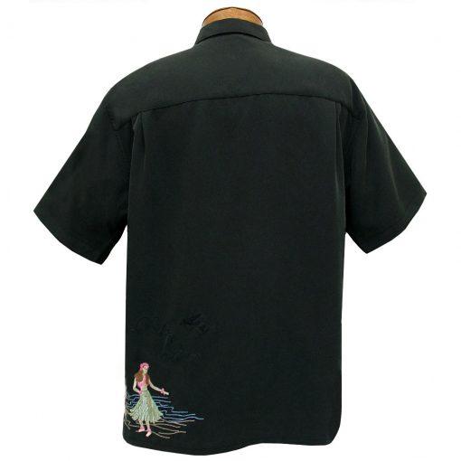 Men's Bamboo Cay Short Sleeve Embroidered Camp Shirt, Dancing Hula #WB1913 Black