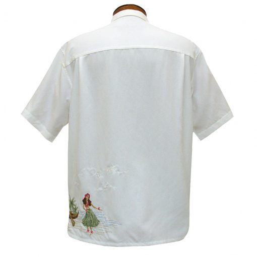 Men's Bamboo Cay Short Sleeve Embroidered Camp Shirt, Dancing Hula #WB1913 Off White