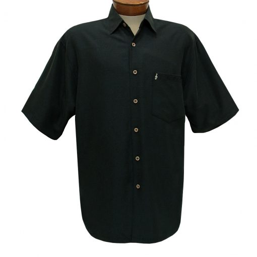 Men's Bamboo Cay Short Sleeve Embroidered Camp Shirt, Paradise Tunes #WB1955 Black