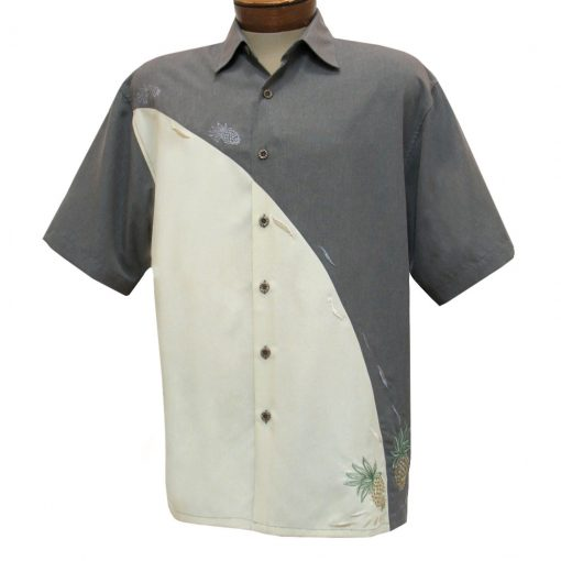 Men's Bamboo Cay Short Sleeve Embroidered Camp Shirt, Pineapple Connection #WB1912 Grey