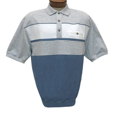 Men's Classics By Palmland Short Sleeve Horizontal Pieced Knit Banded Bottom Shirt #6090-BL2 Blue Heather
