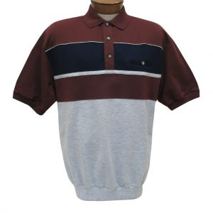 Men's Classics By Palmland Short Sleeve Horizontal Pieced Knit Banded Bottom Shirt #6090-BL2 Burgundy