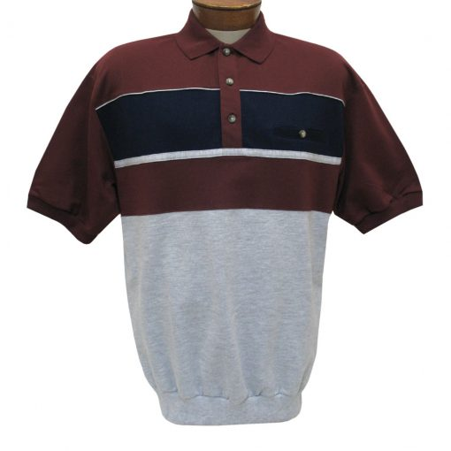 Men's Classics By Palmland Short Sleeve Horizontal Pieced Knit Banded Bottom Shirt #6090-BL2 Burgundy