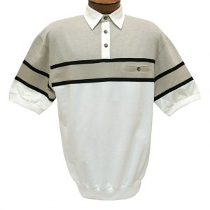 Men's Classics By Palmland Short Sleeve Horizontal Pieced Knit Banded Bottom Shirt #BL20-6090-628-Natural