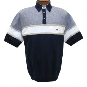 Men's Classics By Palmland Short Sleeve Horizontal Pieced Knit Banded Bottom Shirt #BL20-6090-628-Navy (M & XXL, ONLY!)