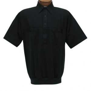 Men's Classics By Palmland Short Sleeve Pieced Knit Banded Bottom Shirt #6010-656 Black
