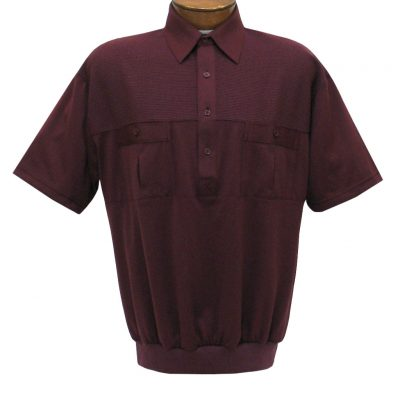 Men's Classics By Palmland Short Sleeve Pieced Knit Banded Bottom Shirt #6010-656 Burgundy