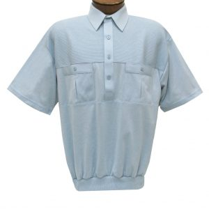 Men's Classics By Palmland Short Sleeve Pieced Knit Banded Bottom Shirt #6010-656 Lt. Blue