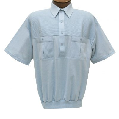 Men's Classics By Palmland Short Sleeve Pieced Knit Banded Bottom Shirt #6010-656 Light Blue