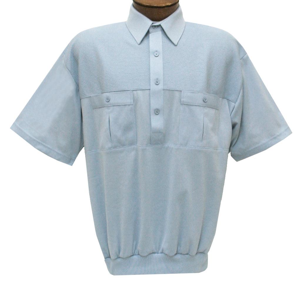 Men's Classics By Palmland Short Sleeve Pieced Knit Banded Bottom Shirt #6010-656 Light Blue