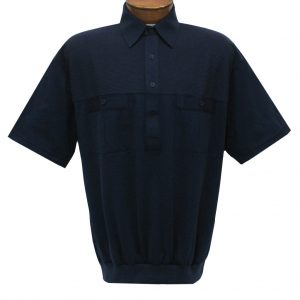 Men's Classics By Palmland Short Sleeve Pieced Knit Banded Bottom Shirt #6010-656 Navy