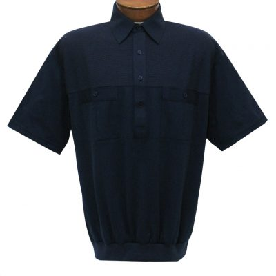 Men's Classics By Palmland Short Sleeve Pieced Knit Banded Bottom Shirt #6010-656 Navy