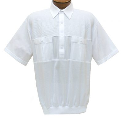 Men's Classics By Palmland Short Sleeve Pieced Knit Banded Bottom Shirt #6010-656 White