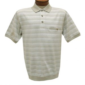 Men's Classics By Palmland Short Sleeve Polo Knit Banded Bottom Shirt, #6191-411 Taupe (M, ONLY!)