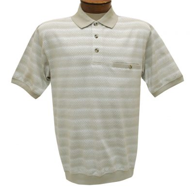 Men's Classics By Palmland Short Sleeve Polo Knit Banded Bottom Shirt, #6191-411 Taupe