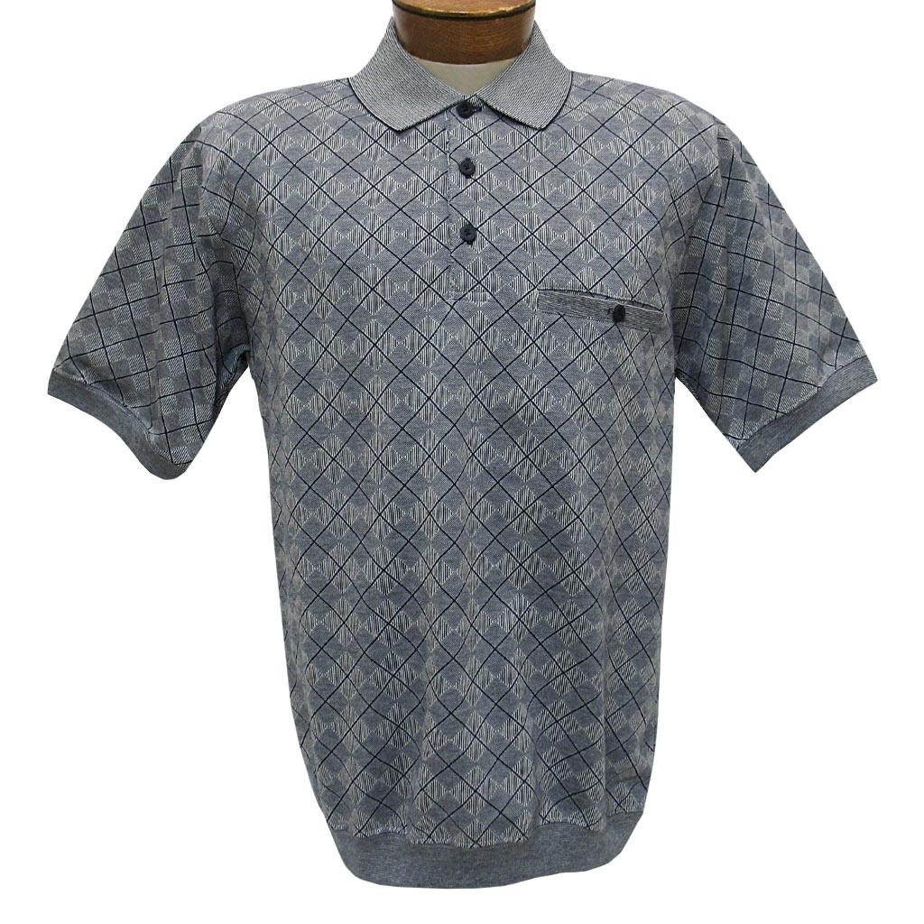 LD Sport Men/'s Black Banded Bottom Textured Short Sleeve Polo Shirt Sizes S-XXL