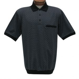 Men's Classics By Palmland Short Sleeve Polo Knit Banded Bottom Shirt, #6191-417 Black (M, ONLY!)
