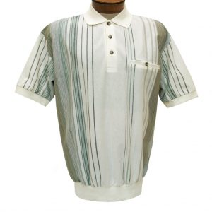 Men's Classics By Palmland Short Sleeve Vertical Polo Knit Banded Bottom Shirt, #6090-V2 Natural