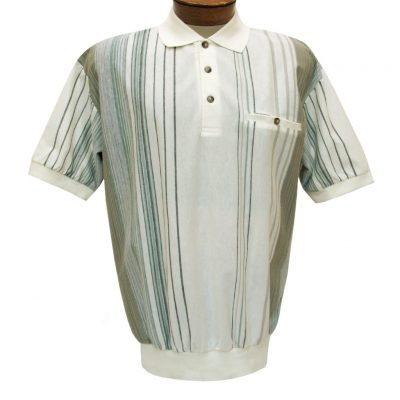 Men's Classics By Palmland Short Sleeve Vertival Polo Knit Banded Bottom Shirt, #6090-V2 Natural