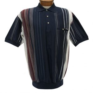 Men's Classics By Palmland Short Sleeve Vertical Polo Knit Banded Bottom Shirt, #6090-V2 Navy (SOLD OUT!)