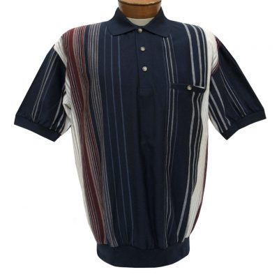 Men's Classics By Palmland Short Sleeve Vertival Polo Knit Banded Bottom Shirt, #6090-V2 Navy