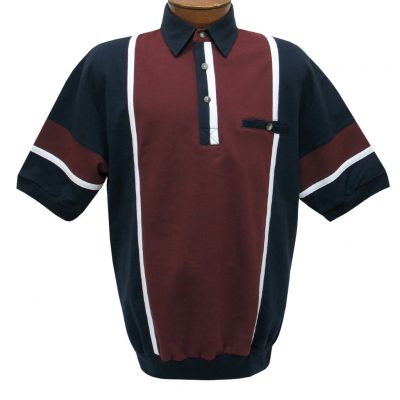 Men's Classics By Palmland Short Sleeve Vertical Pieced Knit Banded Bottom Shirt #6090-262B Burgundy