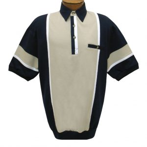 Men's Classics By Palmland Short Sleeve Vertical Pieced Knit Banded Bottom Shirt #6090-262B Taupe & Navy (L & XL, ONLY!)
