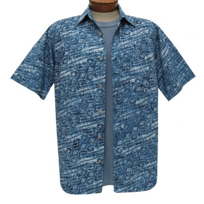 Men's Basic Options Batik Short Sleeve Cotton Shirt, #62041-3A Denim