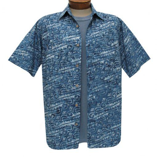 Men's Basic Options Batik Short Sleeve Cotton Shirt, #62041-3A Denim