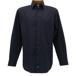 Men's F/X Fusion Summer Weight Long Sleeve Woven Sport Shirt, Navy/Tan Micro Check #D1216