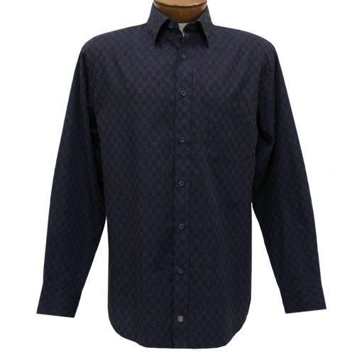 Men's F/X Fusion Summer Weight Long Sleeve Woven Sport Shirt, Navy/Tan Micro Check #D1216