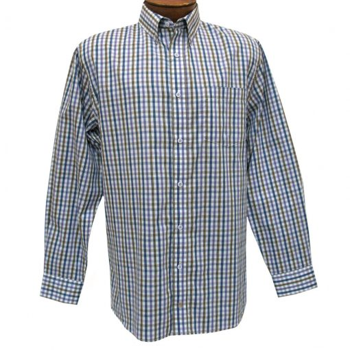 Men's F/X Fusion Summer Weight Long Sleeve Woven Mini Multi Check Sport Shirt #D1206 Purple/Tan/Blue