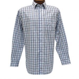 Men's F/X Fusion Summer Weight Long Sleeve Woven Multi Plaid Sport Shirt #D1207 Purple/Navy